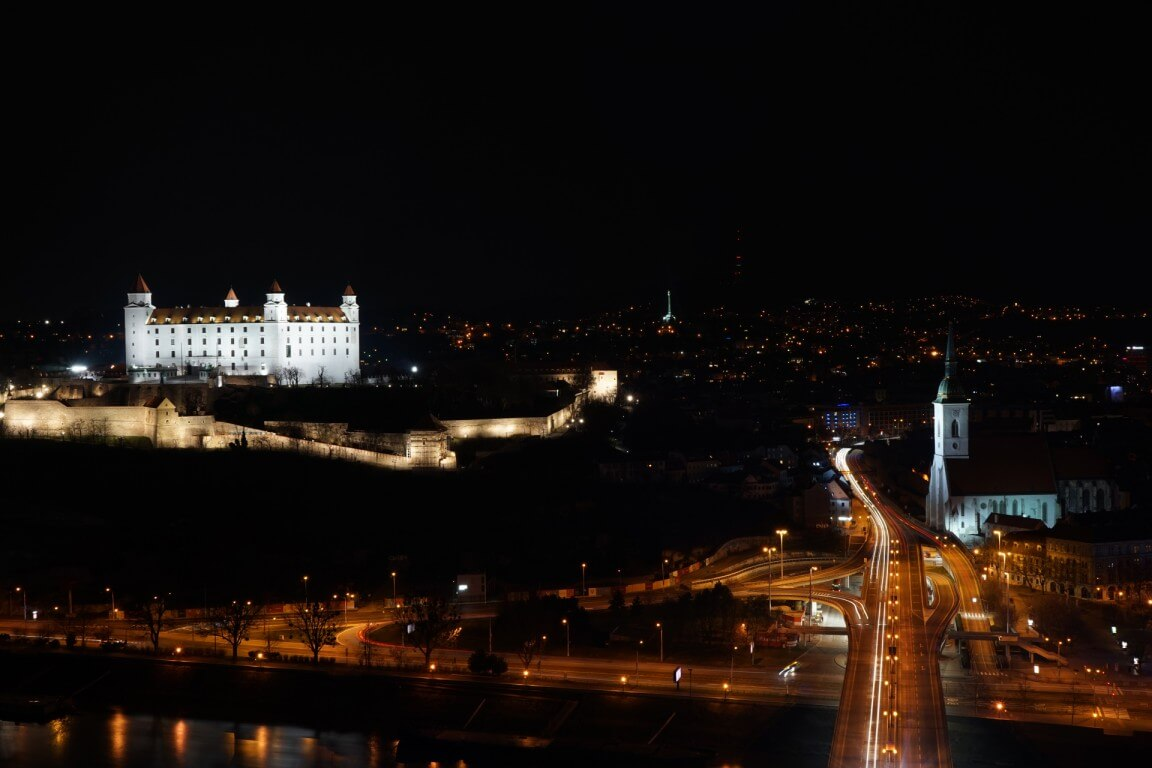 View of Bratislava from UFO tower at night
