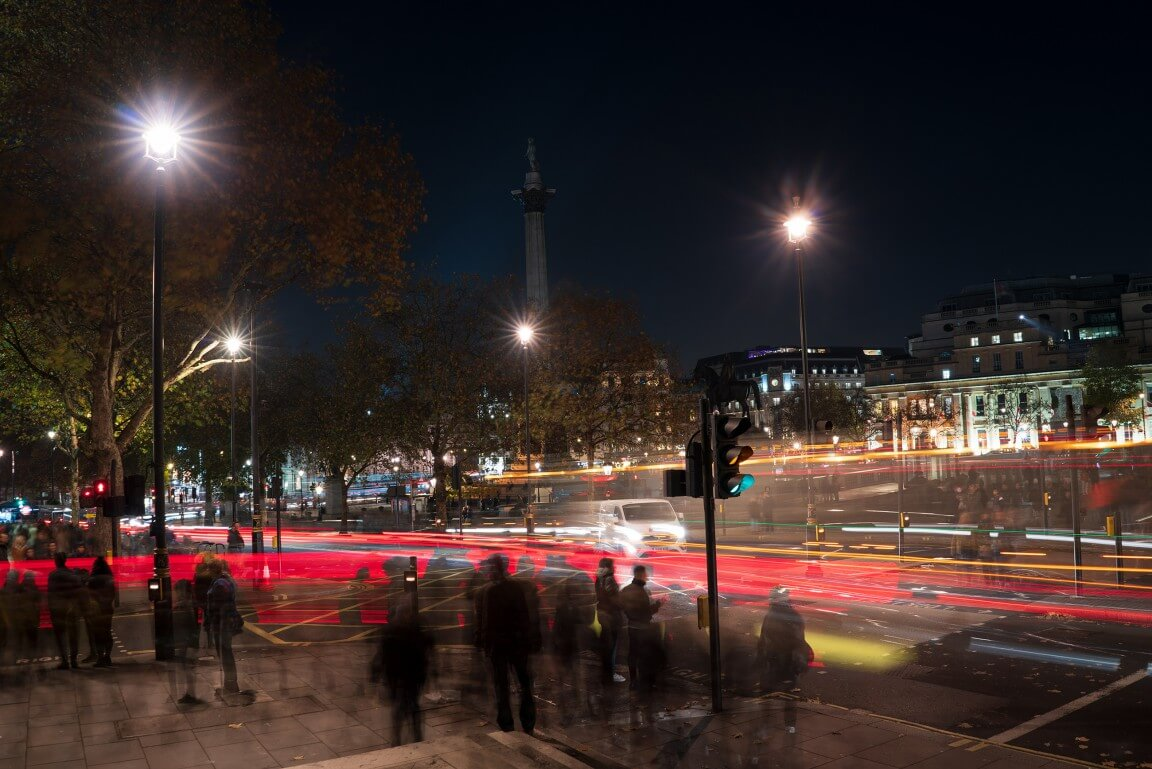 Night London Trafalgar Square