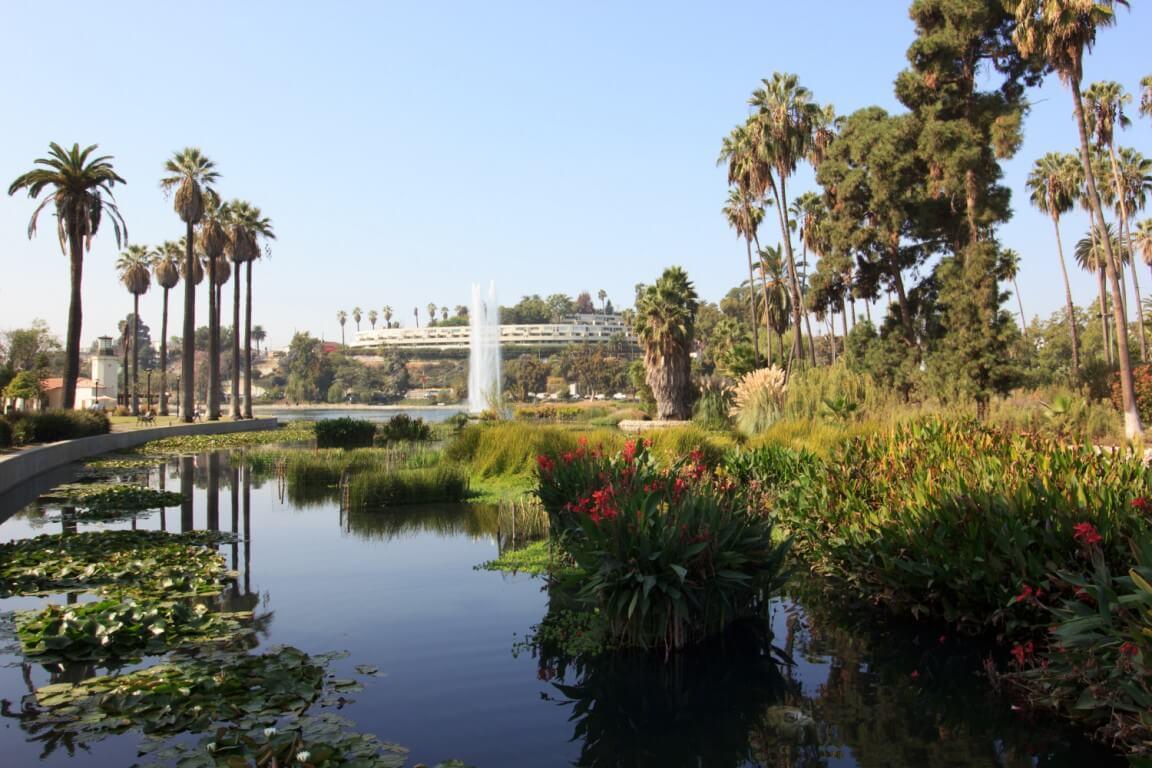 Echo park pond in Los Angeles